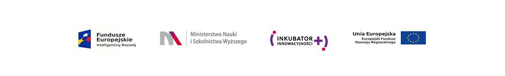 logotypy projektu Inkubator Innowacyjnosci+, Fundusze Europejskie, Unia Europejska, MNiSW