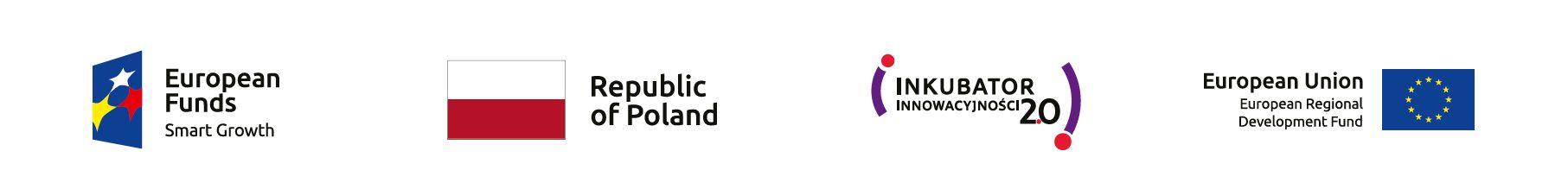 Logos od European Funds, Republic of Poland, Inkubator Innowacyjności 2.0, European Union