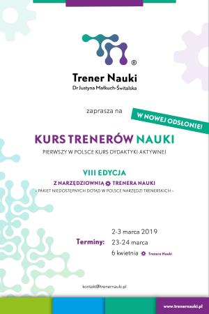 Plakat kursu Trener Nauki z logo i terminami wydarzenia