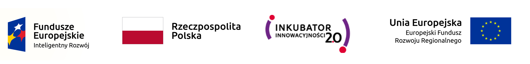 logotypy projektu Inkubator Innowacyjnosci 2.0, Fundusze Europejskie. Rzeczpospolita Polska, Unia Europejska