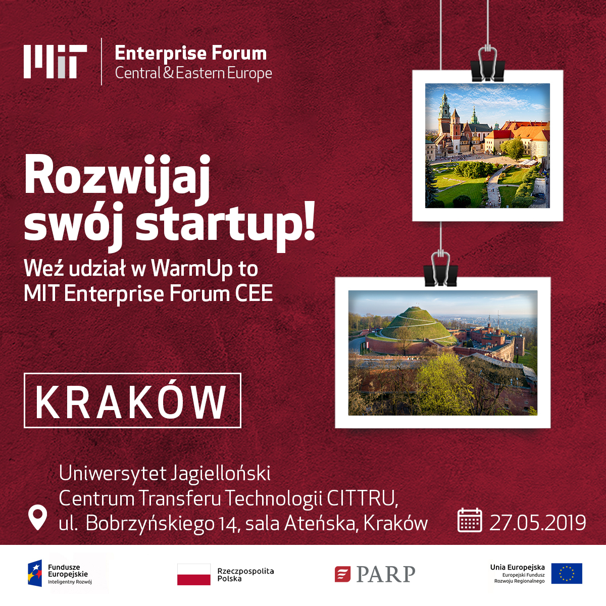 Rozwijaj swój startup! Plakat warmup MIT Enterprise Forum CEE