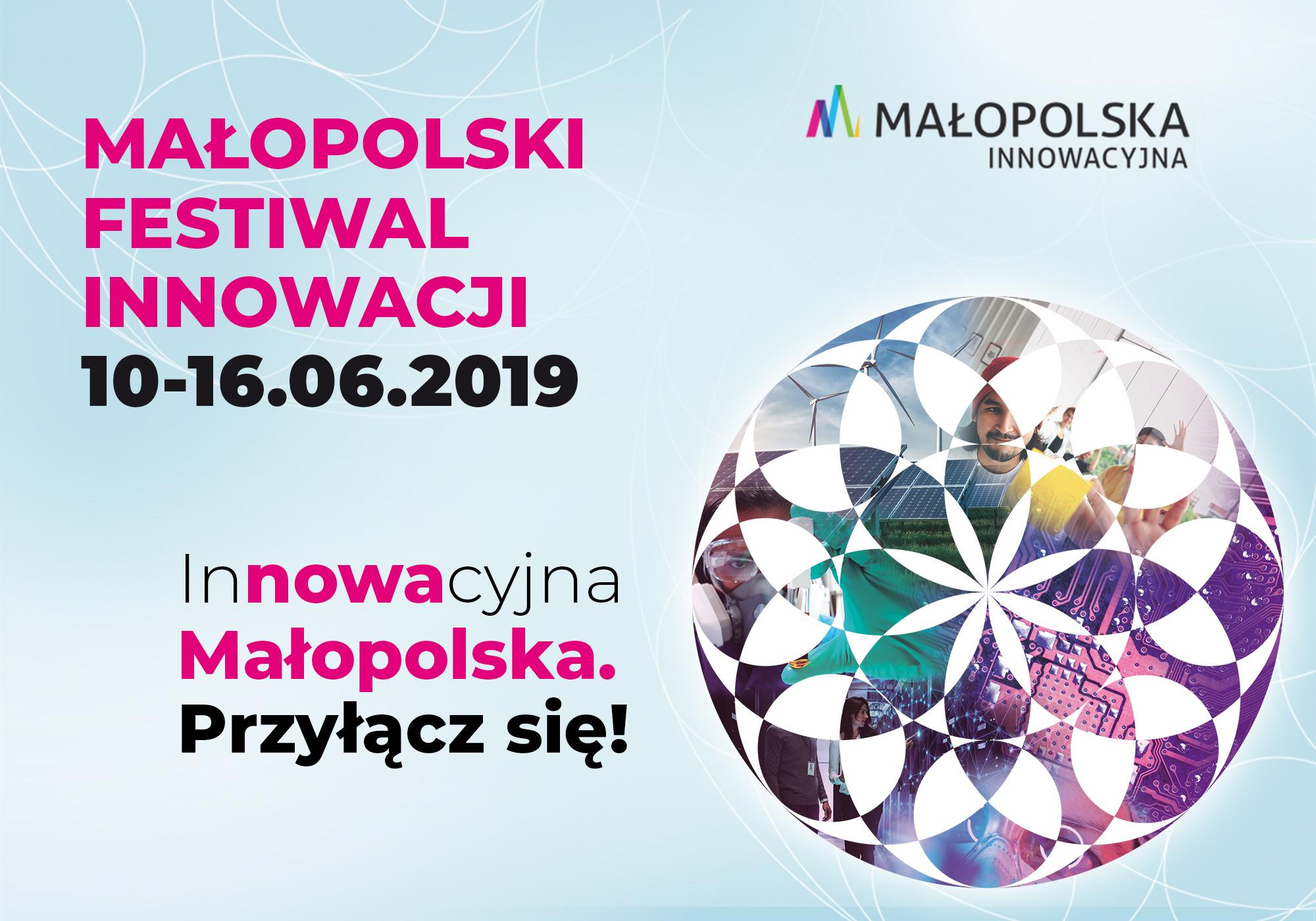 Grafika promująca Małopolski Festiwal Innowacji, 10-16 czerwca, logo małopolska innowacyjność