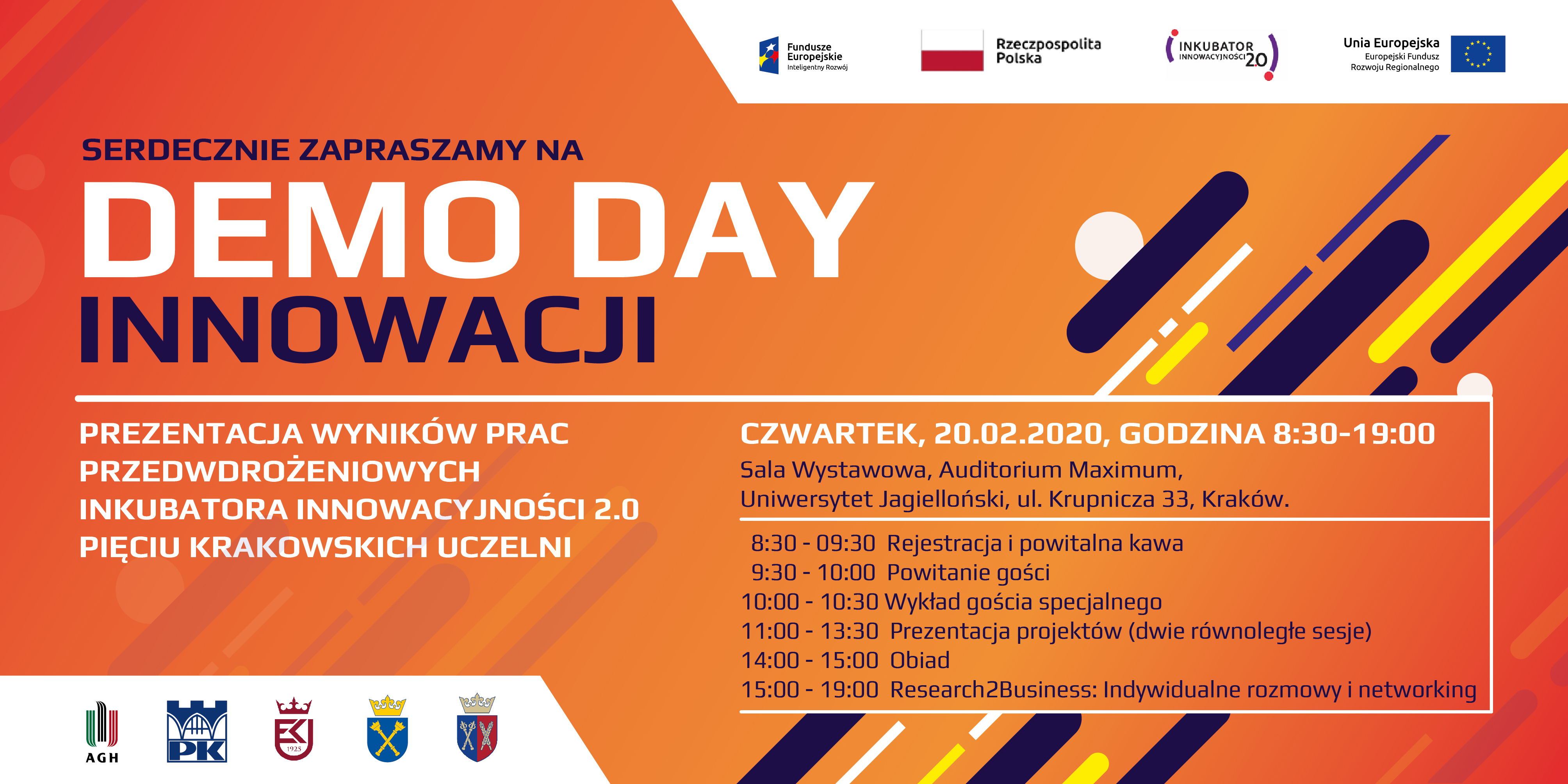 Zaproszenie Demo Day Innowacji, czwarte 20.02.2020 godzina 8:30-19:00