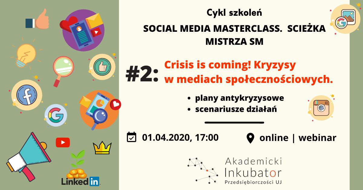 Cykl szkoleń Social Media Masterclass - baner promujący wydarzenie przedstawia różne ikonki social media.