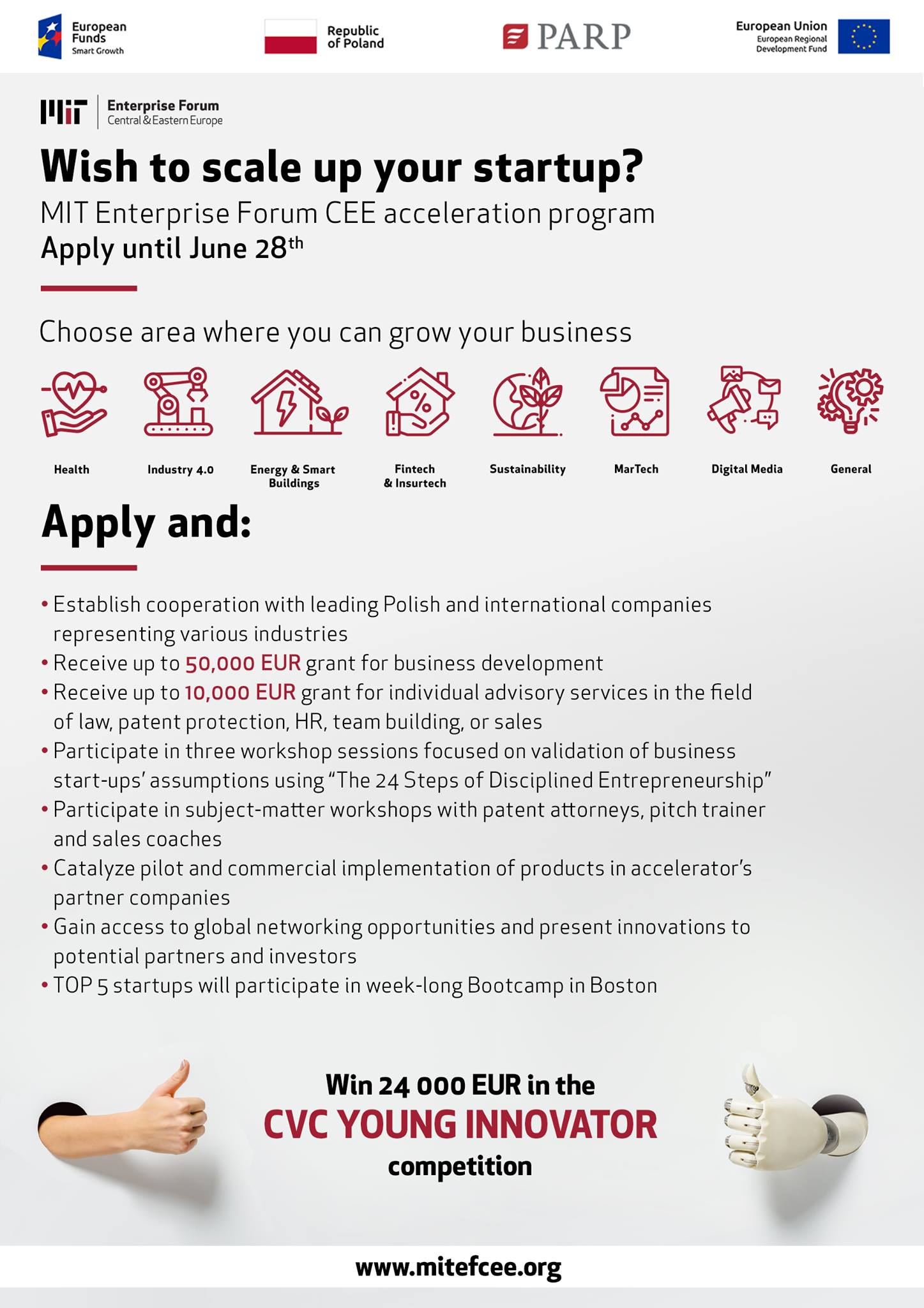 Plakat MITEF CEE Wish to scale up your startup?