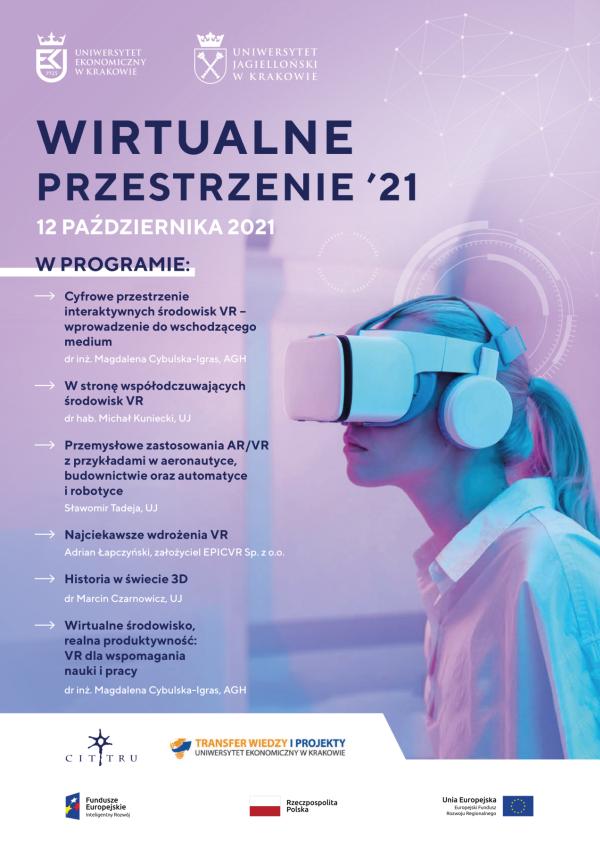 Plakat Wirtualne przestrzenie '21 z kobietą w goglach VR